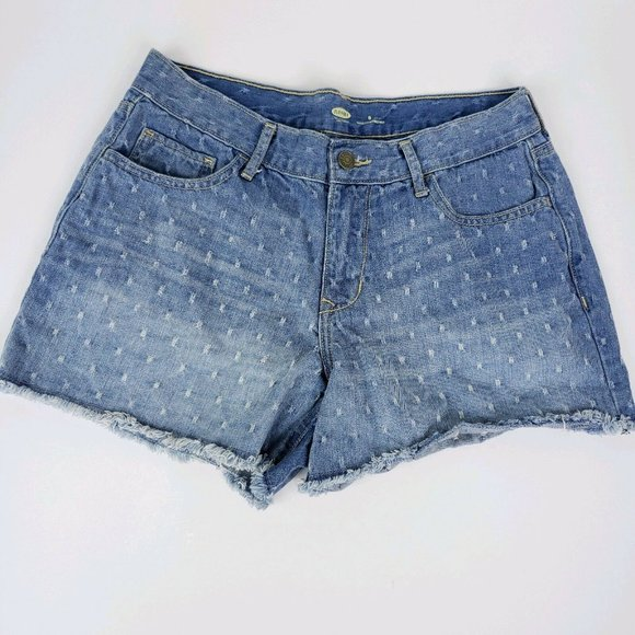 Old Navy The Diva Women Shorts Light Wash Denim Distrested 5-Pocket Flat Front